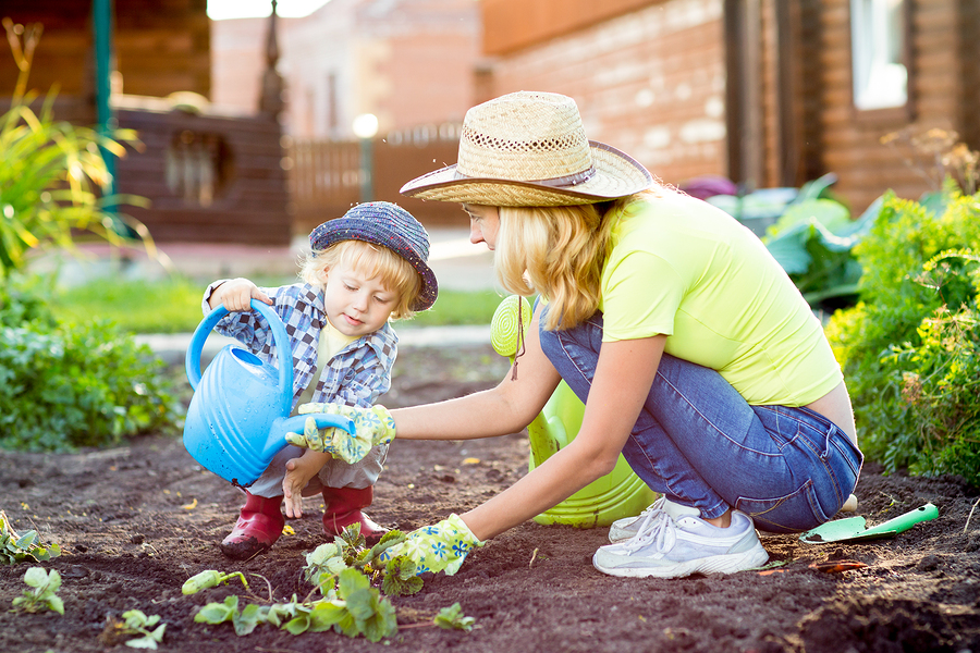 show you care child mom gardening