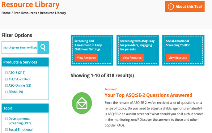 Ages and Stages Questionnaires Resource Library